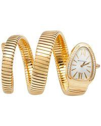BVLGARI Silver Opaline Guilloché Soleil 18k Yellow Gold Diamonds Serpenti Tubogas Sp 35 G Wristwatch 35 Mm - Metallic