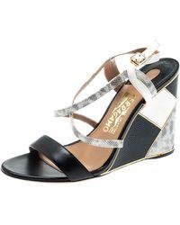 Ferragamo Black Lizard Leather Gris Open Toe Cross Strap Wedge Sandals