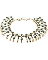 Etro - Green Cabochon Tone Binder Choker Necklace - Lyst