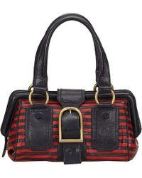 Céline - Two-tone Striped Leather Frame Satchel Bag - Lyst