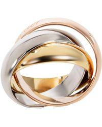 Cartier 18k Three Tone Gold Trinity Large Model Ring Size 48 - Metallic