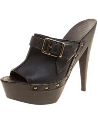 Burberry Dark Brown Leather Wooden Platform Peep Toe Slides Size 40
