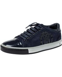 Roberto Cavalli Navy Blue Suede And Patent Leather Low Top Trainers