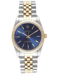 Rolex Blue 18k Yellow Gold And Stainless Steel Oyster Perpetual 14233 Wristwatch 34 Mm