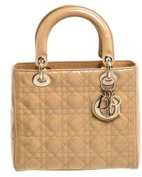 Dior Beige Cannage Patent Leather Medium Lady Tote - Natural