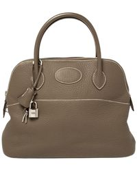 Hermès Taupe Gray Clemence Leather Bolide 31 Bag