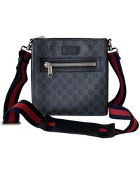 Gucci Black/grey GG Canvas Web Messenger Bag