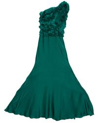 Carolina Herrera Green Silk Pleated Ruffle Bodice Evening Gown