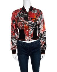 Roberto Cavalli Red Floral And Snake Printed Satin Bomber Jacket