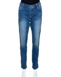 Chanel Indigo Light Wash Denim Braided Trim Jeans M - Blue