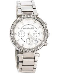 Michael Kors Silver White Stainless Steel Parker Mk5353 Women's Wristwatch 39 Mm - Metallic