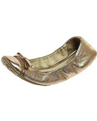 Prada Sports Metallic Gold Leather Bow Logo Scrunch Ballet Flats