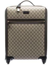Gucci - /ebony Gg Supreme Canvas Medium Four Wheel Carry-on Suitcase - Lyst