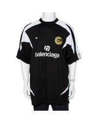 Balenciaga Black Logo Printed Jersey Panelled Soccer T-shirt