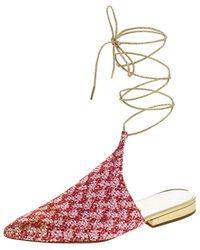 Chanel Red/pink Tweed And Sequins Babouche Ankle Wrap Mules