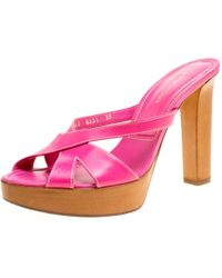 Sergio Rossi Pink Leather Peep Toe Platform Slides Size 38