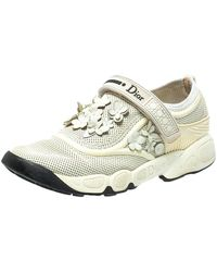 Dior White Mesh Fusion Flower Runway Sneakers