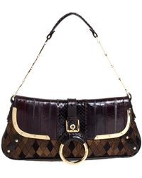 Dolce & Gabbana Dolce And Gabbana Brown/gold Leather, Lame Fabric And Python Ring Handle Shoulder Bag