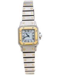 Cartier White Stainless Steel 18k Yellow Gold Santos Galbée Women's Wristwatch 24 Mm - Metallic