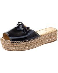 Prada Black Patent Leather Bow Espadrille Platform Slides