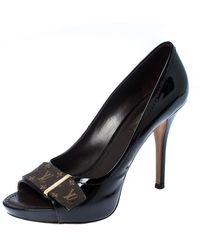 Louis Vuitton Dark Burgundy Monogram Idylle & Patent Leather Buci Court Shoes Size 38 - Black