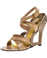 Marc Jacobs Beige Leather And Gold Piping Heart Wedge Ankle Strap Sandals - Natural