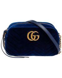 Gucci Blue Matelassé Velvet Small GG Marmont Camera Crossbody Bag