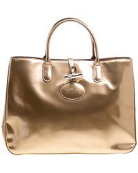 Longchamp - Metallic Patent Leather Roseau Tote - Lyst 967740922a2f3