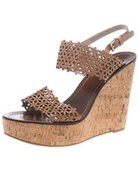031e92158b9 Beige Perforated Leather Daisy Cork Wedge Sandals Size 40.5 - Natural