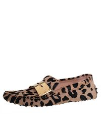 Tod's Beige/black Leopard Print Calf Hair Penny Loafers - Natural