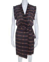 Isabel Marant Etoile Anthracite Grey Cotton Voile Varna Wrap Dress