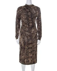 Roberto Cavalli Brown Snake Printed Jersey Ruched Detail Dress S