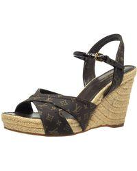 Louis Vuitton Louise Vuitton Brown Monogram Idylle Majorca Espadrille Sandals - Black