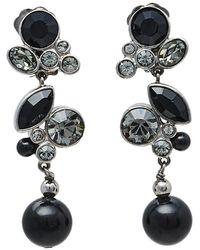 Dior Silver Tone Noir Crystal Drop Clip On Earrings - Black