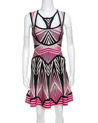 Hervé Léger Pink Cotton - Elasthane Dress
