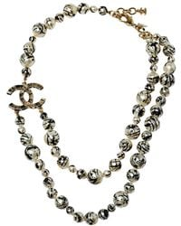 Chanel Cc Paint Splatter Faux Pearl Gold Tone Layered Necklace - Metallic
