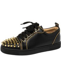 Christian Louboutin Black Leather Louis Junior Spikes Low Top Sneakers