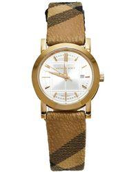 Burberry Champagne Yellow Gold Tone Stainless Steel Novacheck Canvas Bu1399 Wristwatch - Metallic