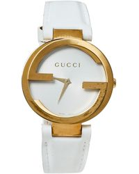 Gucci Silver White Yellow Gold Pvd Coated Stainless Steel Rubber Latin Grammy's Ya133313 Wristwatch