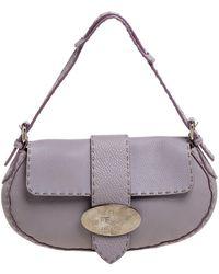 Fendi Lilac Leather Selleria Shoulder Bag - Purple