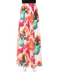 Alice + Olivia Multicolour Cotton & Silk Pleated Gemna Maxi Skirt
