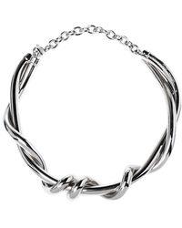 Oscar de la Renta Silver Tone Modern Twist Necklace - Metallic
