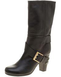 Chloé Black Leather Mid-calf Buckle Boots