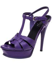 Saint Laurent - Purple Leather Tribute Platform Ankle Strap Sandals - Lyst