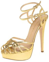 Charlotte Olympia Gold Leather Octavia Platform Ankle Strap Sandals - Metallic