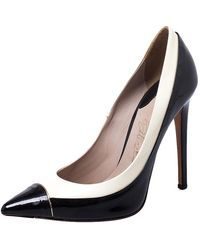 Le Silla Black/white Patent Leather Pointed Toe Court Shoes