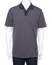 Armani Dark Grey Cotton Contrast Collar Detail Polo T-shirt