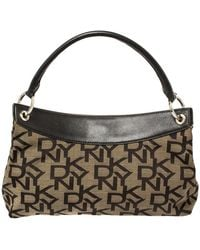 DKNY Dark Brown Signature Canvas And Leather Ring Handle Hobo