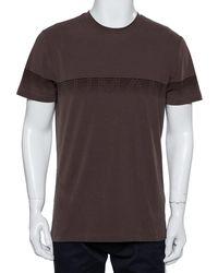 Armani Brown Textured Soft Cotton Logo Stripe Printed Crewneck T-shirt Xxl