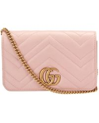 Gucci - Pink GG Marmont Quilted Leather Crossbody Bag - Lyst